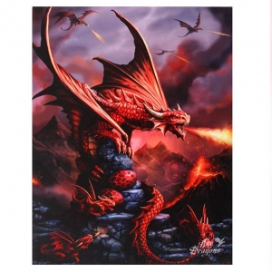 Ognisty Smok-Fire Dragon-Age of Dragons Anne Stokes-obraz na płótnie canvas